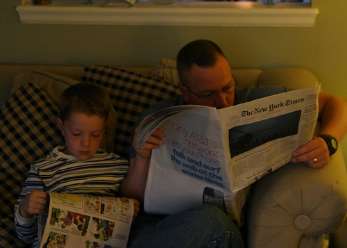 Unplugged Sunday:  Newspaper reading