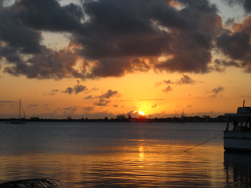 Sunset over Utila harbour