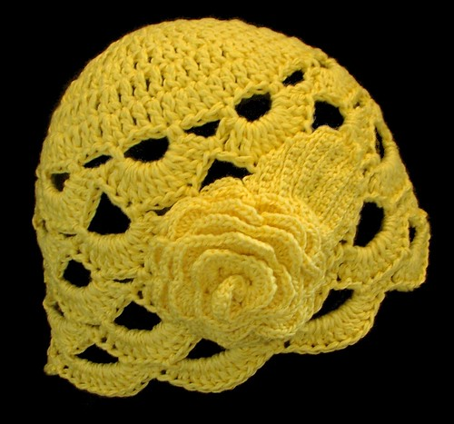 other side with rose detail cloche