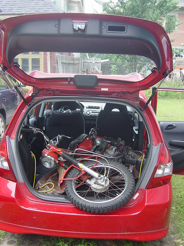 Arriving back in Providence, the two of us unloaded the CT90 from the Honda Fit