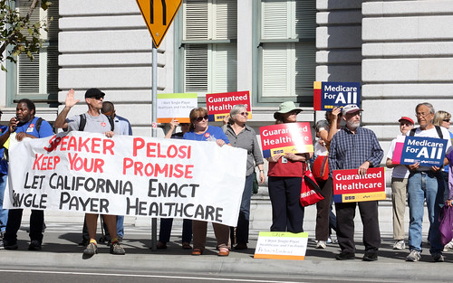 Demonstration outside the sit-in for single-payer at Pelosi's office