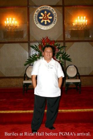 Bariles, the Fishman, inside Malacanang Palace.