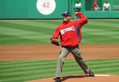 President Obama First Pitch Nationals Park
