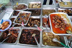 An assortment of local foods at a buffet in Kuala Lumpur