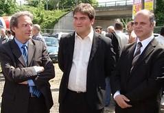 Roland Ries, sénateur-maire de Strasbourg, Olivier Bitz, adjoint au maire chargé des cultes, conseiller général du Bas-Rhin, et Saïd Aalla, président de la Grande Mosquée de Strasbourg, lundi 18 mai