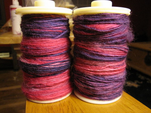 Both bobbins, before plying