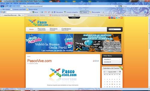 Pascovive.com en Windows 7 con Firefox acercadose Web 2.0