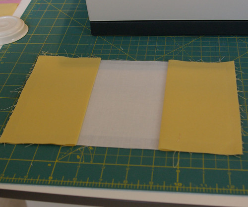 Place pockets on top of lining with fold on the inside by you.