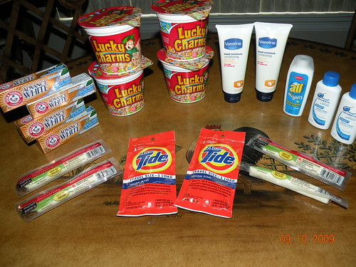 Shopping at Target, where I got all of this for $.78 (total out of pocket).  The only thing that wasnt free was the lotion.