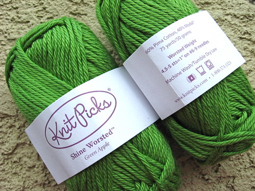 Knit Picks Shine Worsted, Green Apple