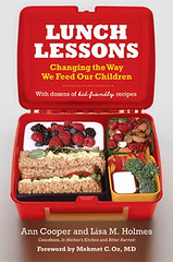 Lunch Lessons by Ann Cooper.  Remember how simple school lunches used to be? Youd have something from every major food group, run around the playground for a while, and you looked and felt fine. But today its not so simple. Schools are actually feeding the American crisis of childhood obesity and malnutrition. Most cafeterias serve a veritable buffet of processed, fried, and sugary foods, and although many schools have attempted to improve, they are still not measuring up: 78 percent of the school lunch programs in America do not meet the USDAs nutritional guidelines.  Chef Ann Cooper has emerged as one of the nations most influential and most respected advocates for changing how our kids eat. In fact, she is something of a renegade lunch lady, minus the hairnet and scooper of mashed potatoes. Ann has worked to transform cafeterias into culinary classrooms. In Lunch Lessons, she and Lisa Holmes spell out how parents and school employees can help instill healthy habits in children.  They explain the basics of good childhood nutrition and suggest dozens of tasty, home-tested recipes for breakfast, lunch, and snacks. The pages are also packed with recommendations on how to eliminate potential hazards from the home, bring gardening and composting into daily life, and how to support businesses that provide local, organic food.  Yet learning about nutrition and changing the way you run your home will not cure the plague of obesity and poor health for this generation of children. Only parental activism can spark widespread change. With inspirational examples and analysis, Lunch Lessons is more than just a recipe book—it gives readers the tools to transform the way children everywhere interact with food.