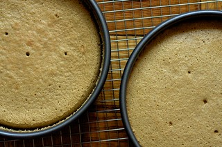 espresso chiffon cakes, cooling