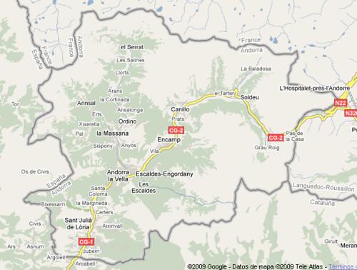 Mapa Andorra