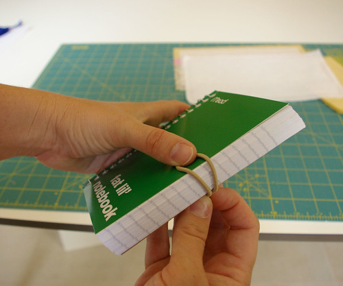 Measure elastic on notebook by placing thumb where  button will be and wrapping it around the back. Pinch elastic about a quarter inch on the back side. do not stretch elastic by you.
