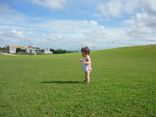 On the lawn in front of El Morro
