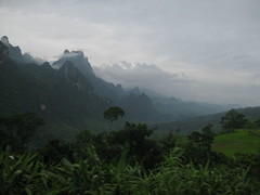 A mountain range near Vang Viang that our bus had to drive through