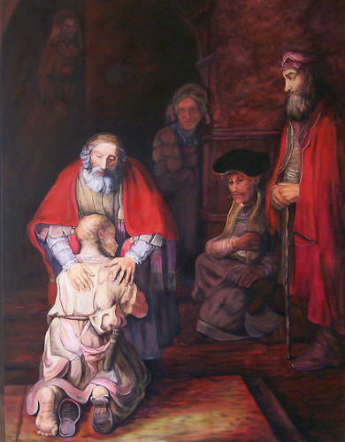 Rembrandts Return of the Prodigal Son used as an illustration in thesermon (click for full size)