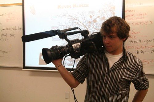 """Kevin Kunze holds the video camera that he recently purchased to shoot """"Id"""" his first feature length film.  Picture by Melissa Stihl/Foghorn"""