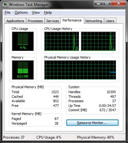 Windows 7 task manager window