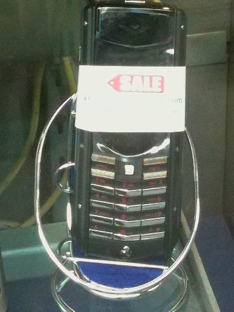 Dual SIM 'Vertu' Ferrari edition phone on sale in a Tottenham Court Road electronics store