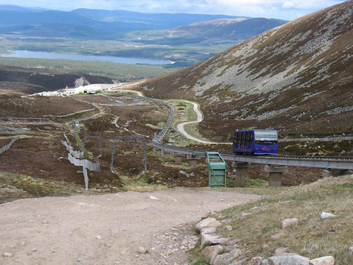 Cairn Gorm:  the purple funicular railway