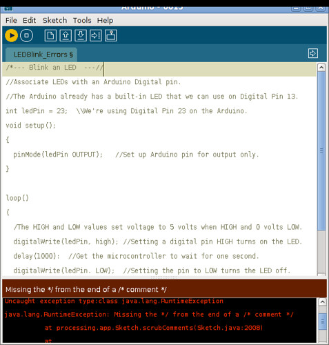 Arduino Compiler Error Messages