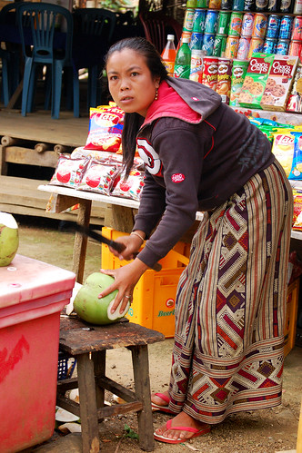 We bought a coconut from this lady outside of Kuang Si Falls. The fruit has an awful taste, like a mixture between salt water and acid.