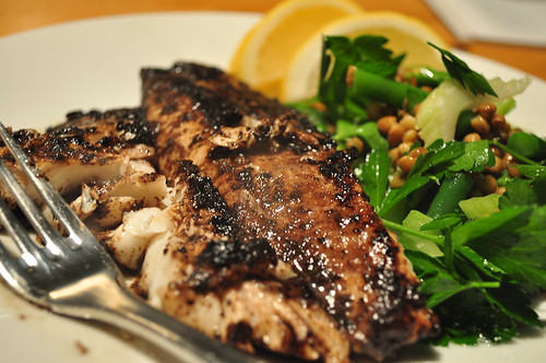 Sumac Coated Fish with Green Bean, Lentil and Parsley Salad