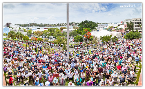Brilliant panorama pic of the protest from the House of Assembly balcony by Max Kehrli. The image is several images stitched together for a final 40 megapixel image.