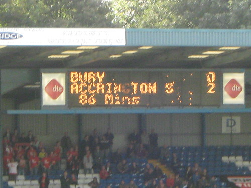 The scoreboard in the Manchester Road End makes poor reading for the three stands that can see it