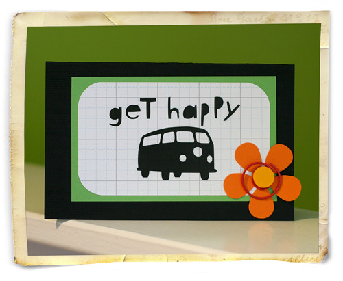 Kim Kestis Get Happy Card from Paper Crafts October 2008 issue.