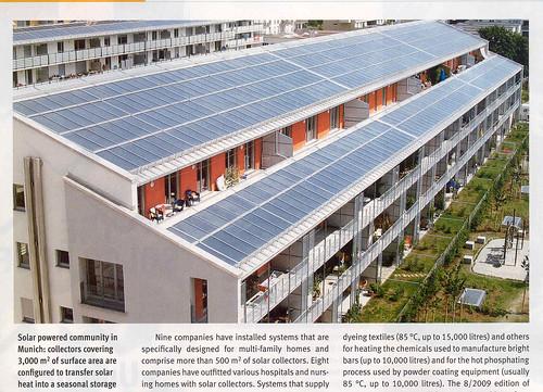 Buena Integracion  Energia solar termica en Munich 3000 metros de paneles.