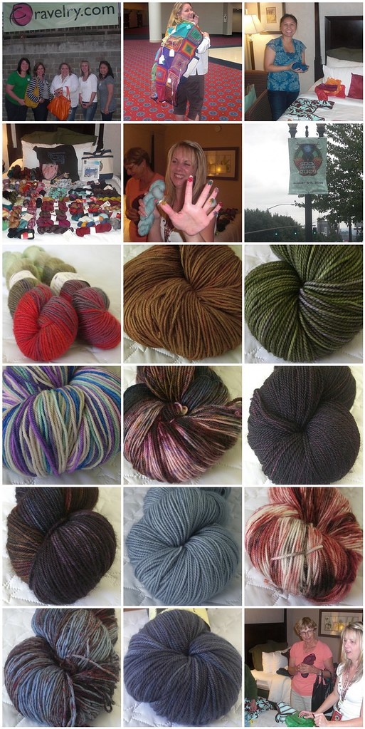 1. Most of the original 7 Group members, 2. Lynaes new cape, 3. Yarn makes Claire happy!, 4. 2 hours, 6 people, 5. The yarn fumes start to go to Drins head, 6. Sock Summit 2009, 7. Lornas Laces Shepherd Sock - Zombie BBQ, 8. Damselfly Yarns Sturdy Sheep - Gingerbread, 9. Madelinetosh Tosh Sock - Lichen, 10. Stitchjones Titanium Sock - Magic Judy, 11. Creatively Dyed Yarn Calypso - Olinda, 12. Madelinetosh Tosh Lace - Duchess, 13. Becoming Art Suave - Twilight, 14. Lynae Limited Sock, 15. Creatively Dyed Yarn Calypso - Durian, 16. Creatively Dyed Yarn, 17. Kitchen Sink Dyeworks, 18. Who likes yarn?