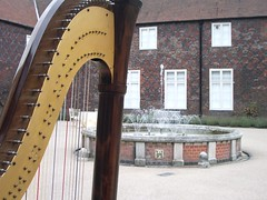 The harp inspects the fountains at Fulham Palace