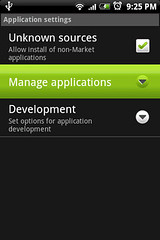 """Go into """"Manage applications"""" to remove apps"""