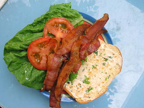 BLT w/ Sauteed Garlic-Shallot & Fresh Herb Mayo on Country White Bread