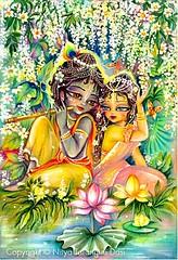 Radha  Krishna at lotus-pond - ISKCON desire tree