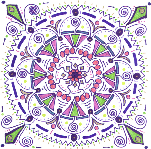 mandala 6 marker & gel ink pen on paper (c) 2009, Lynne Medsker