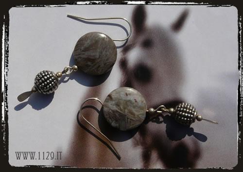 orecchini beige pietra dura - beige earrings ILAGBAM