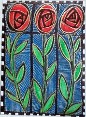 Stained Glass Style Zendoodle ATC