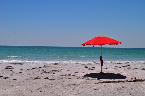 Pretty Red Tent on Little Gasparilla Island, Fla.