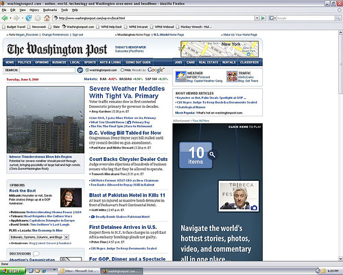 Click on the image to go to a larger view of this screen capture of my first photo published on washingtonpost.com!