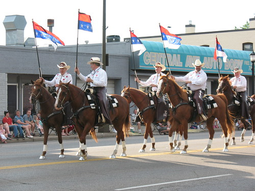 Horses are supposed to be at the end of the parade