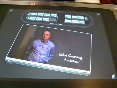 Microsoft Surface Table playing a video