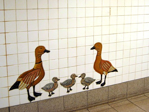 Duck mosaics in the subway.