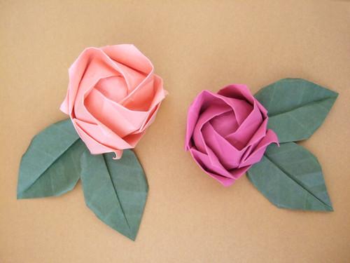 Rosas e folhas de origami  Como Faz