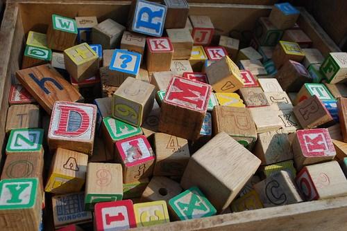 the estate of things chooses vintage alphabet blocks