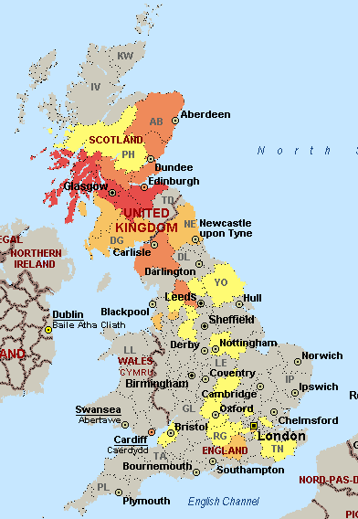 Map of the distribution of attendees at Developer Day Scotland