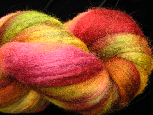 Autumn Rose Hand Dyed BFL Wool Top Roving