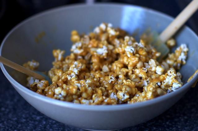 caramel-ing the popcorn